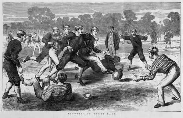 1874 yarra park football match east melbourne historical society - Who invented table football ...