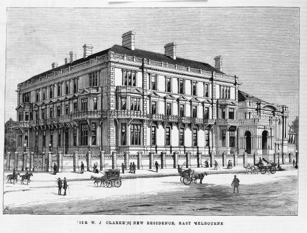 Engraving of Cliveden Mansions 1887 by Samuel Calvert