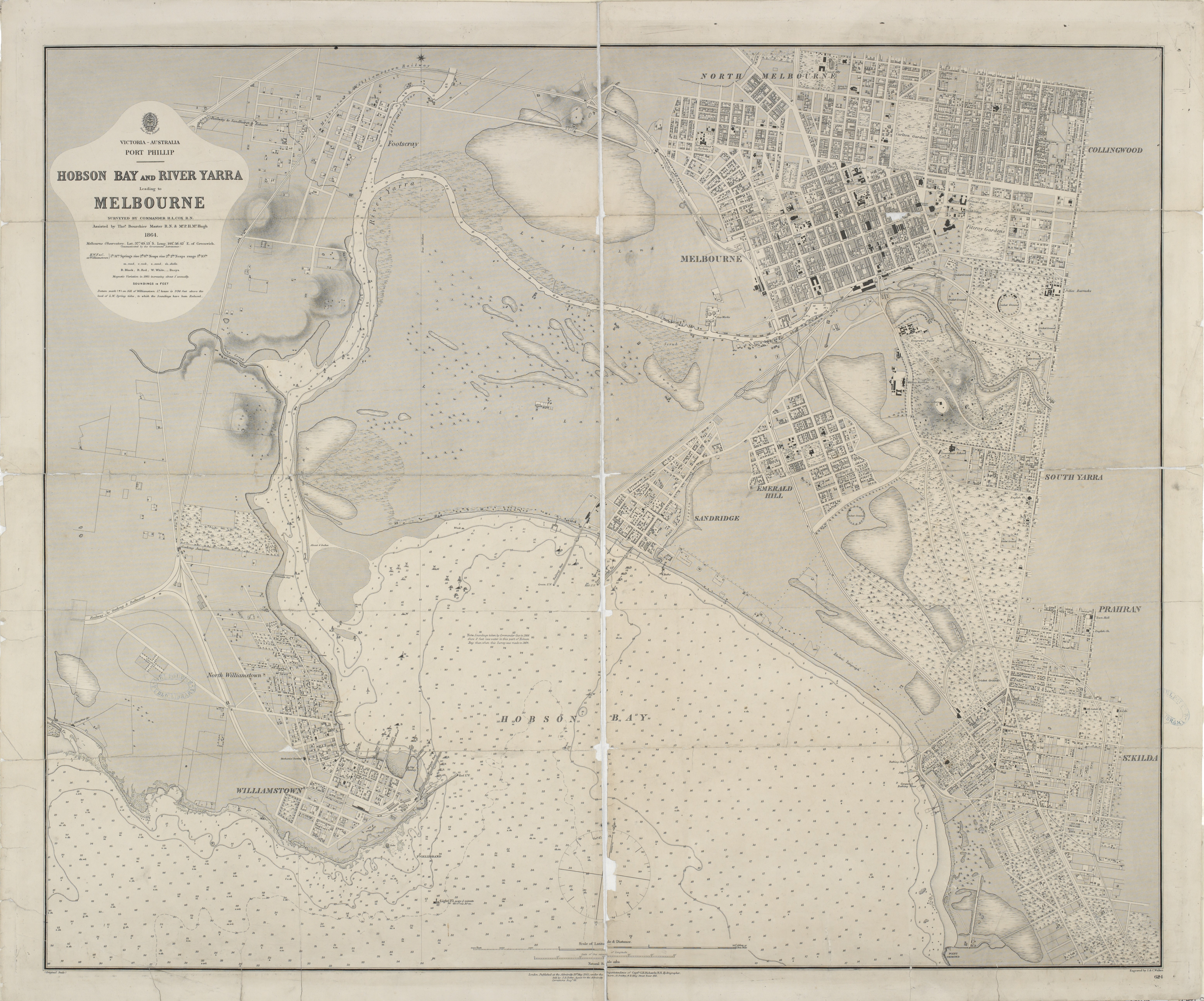 Map of Hobson Bay and Yarra River leading to Melbourne 1864 | East Yarra River Australia Map on niger river australia map, athens metro map, narmada river map, trail map, snowy river australia map, derwent river australia map,
