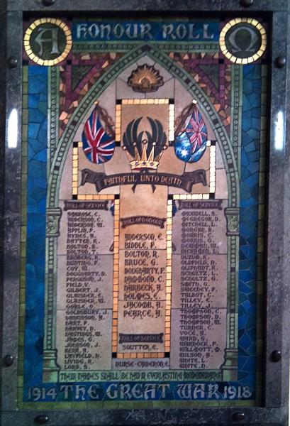 Holy Trinity Honour Roll - WW1