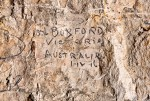 Lionel's name scratched into the cave walls at Naours.  Courtesy Gilles Prilaux