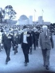 Tom, front and centre marching at the AWM with the Gallipoli veterans on Anzac D