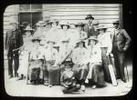 Group portrait of Coldstream Ladies Cricket Club, Mr Gooley on left.