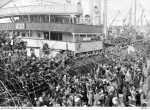 Wellwishers cheering the troops aboard the Barambah