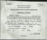 Death Certificate of Kenneth Fraser McKenzie