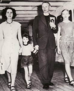 The Woods family arrive in Australia on December 11, 1957. Pictured above are Archbishop-elect Woods with his wife Jean and younger daughters Clemence and Richenda - Courtesy The Age