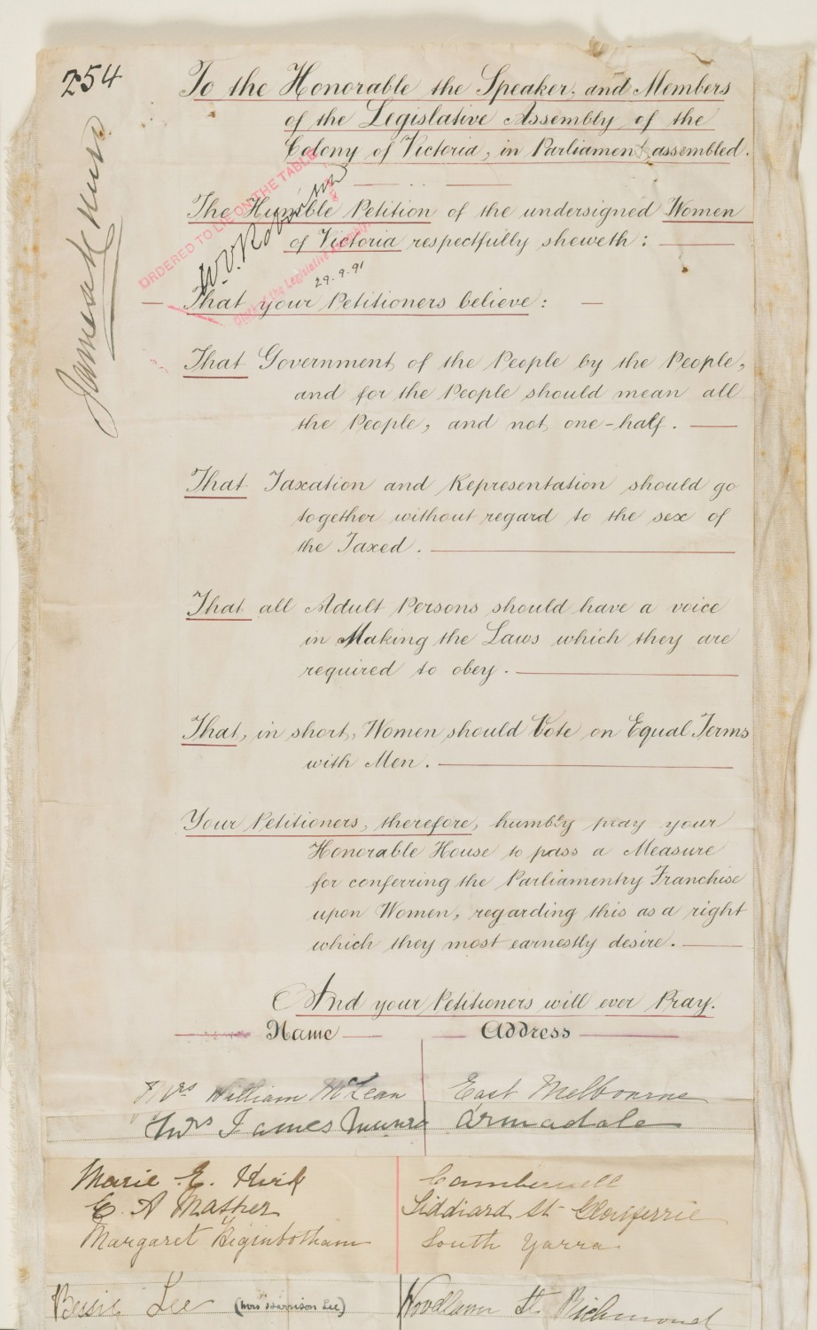 1891 Petition for Female Suffrage
