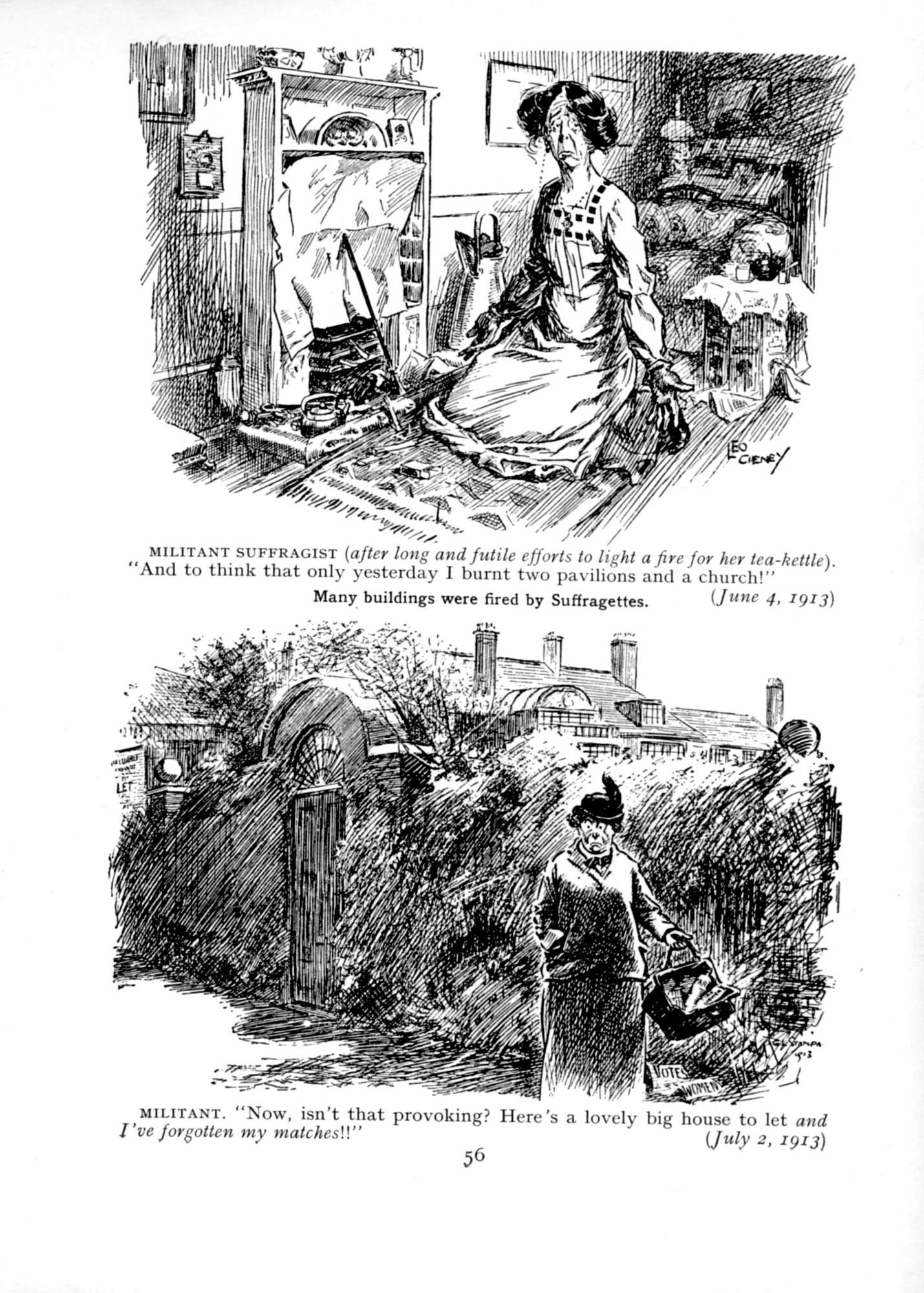 1913 Punch Cavalcade p56 - Militant Suffragettes