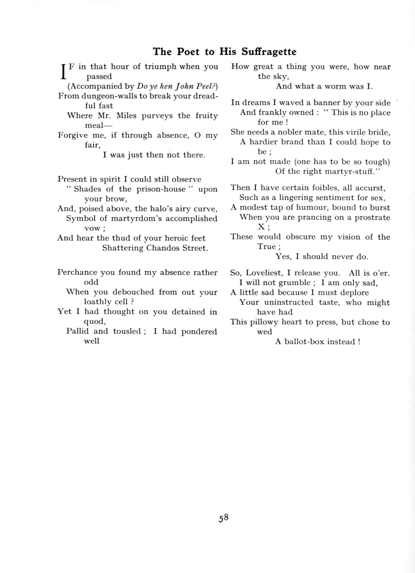 1915 Punch Cavalcade p58 - Poet to Suffragettte