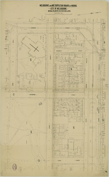 bw0018 MMBW Plan - Gisborne St, Victoria Pd, Eades St, Cathedral Pl