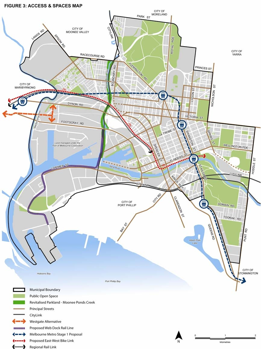 2010 City of Melbourne MSS Figure 3 - Access and Spaces Map