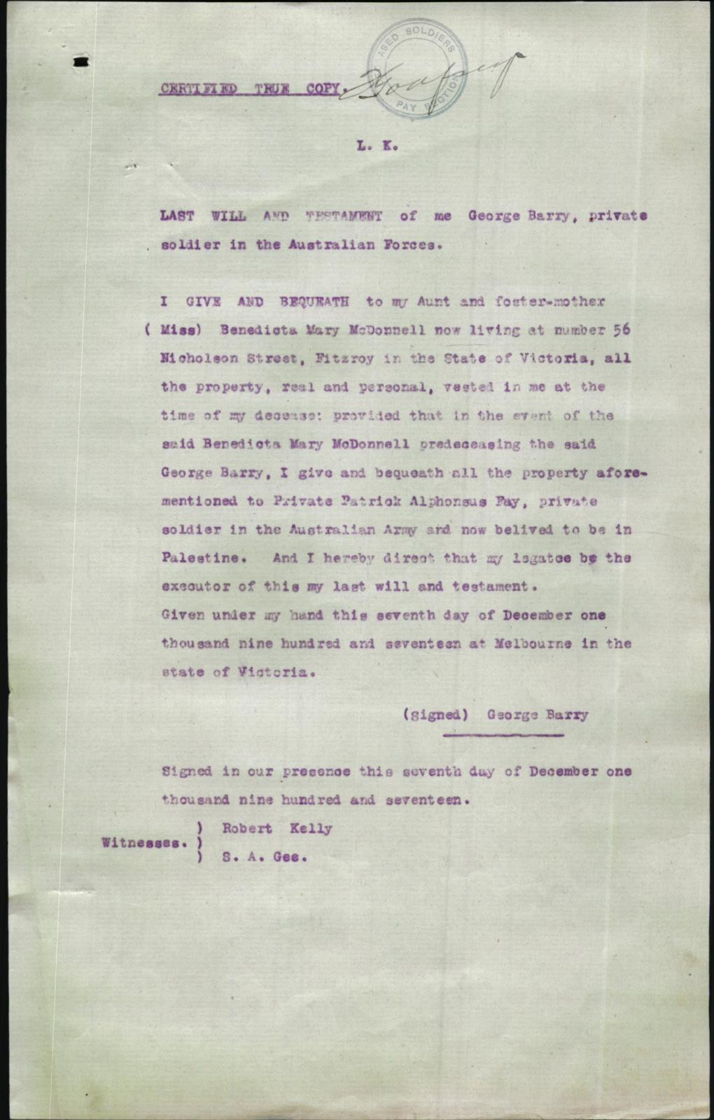 Last Will and Testament - 1917-12-07