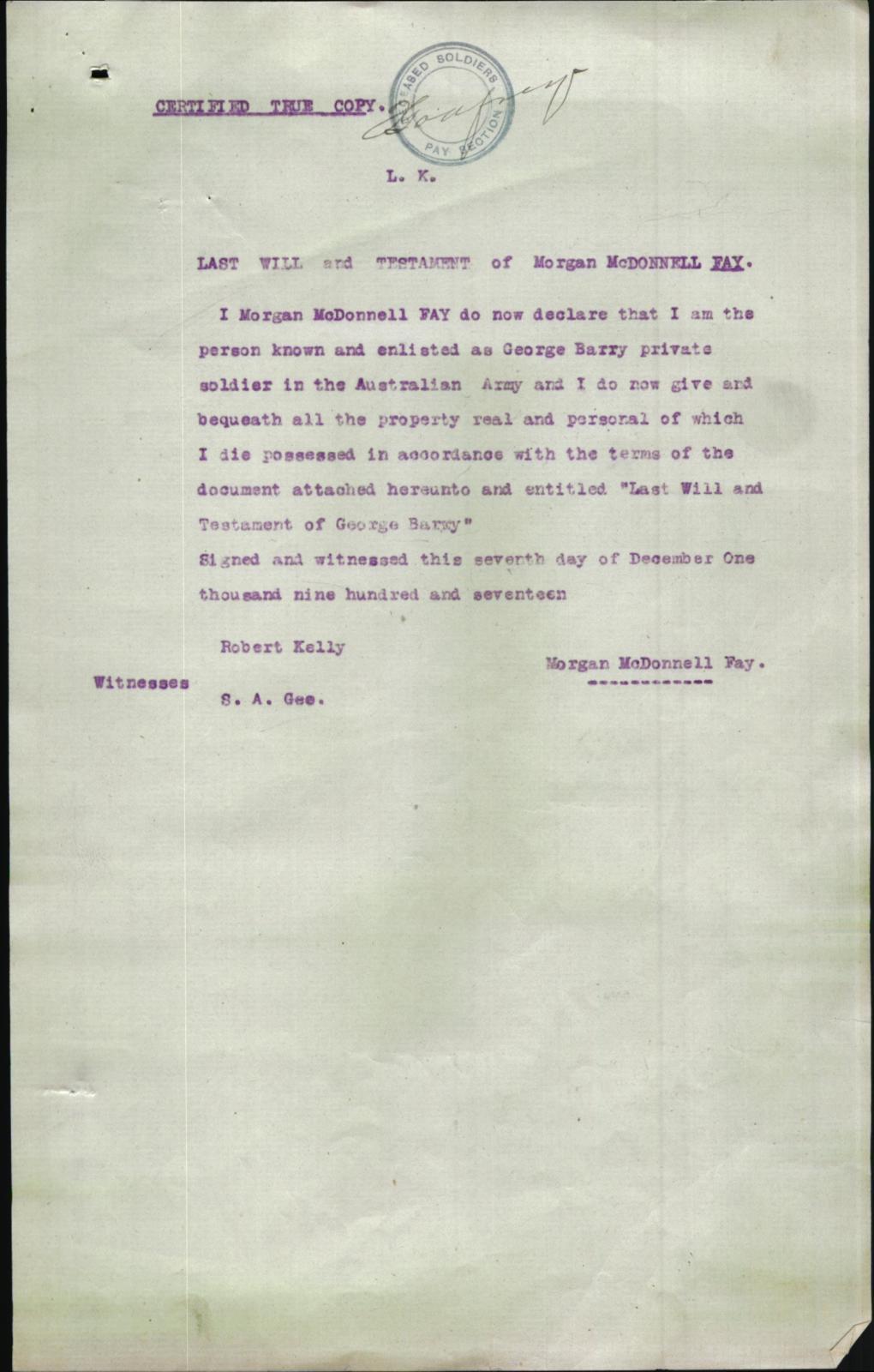 Name declaration - 1917-12-07