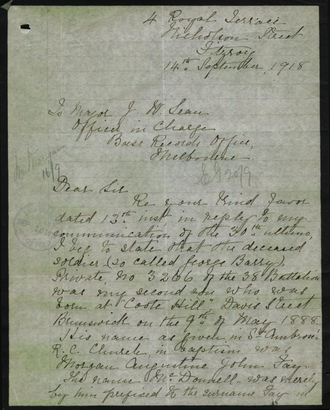 Letter from mother page 1 - 1918-09-14