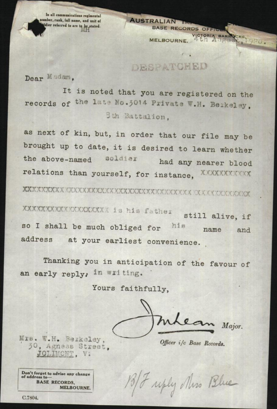 Letter to Mother asking if the deceased had a nearer blood relation