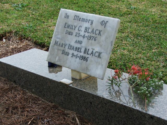 Grave of Emily Conyngham and Mary Isabel Black, Karrakatta Cemetery, WA