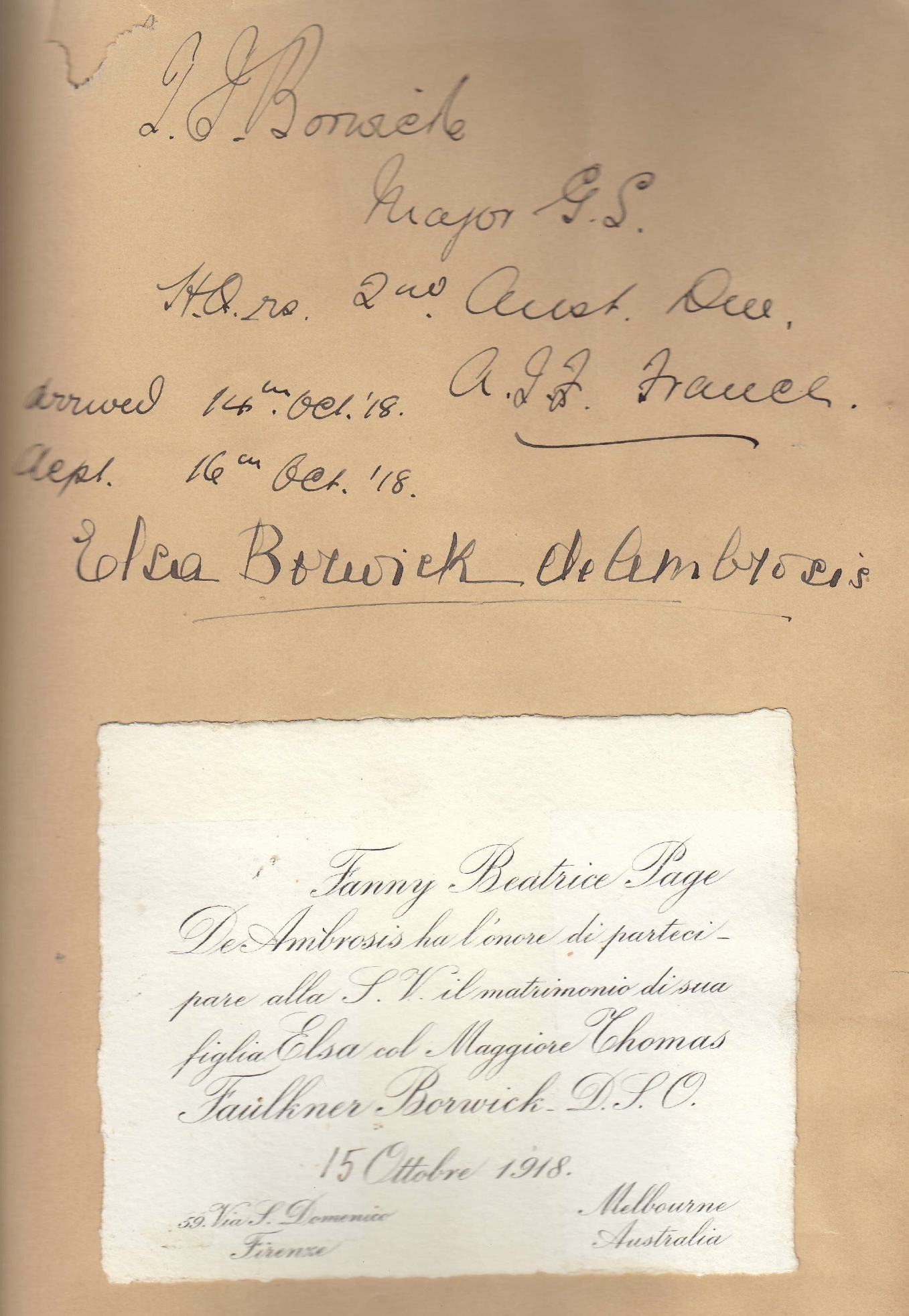 Wedding invitation - Thomas Borwick and Elsa De Ambrosis, 15 Oct 1918