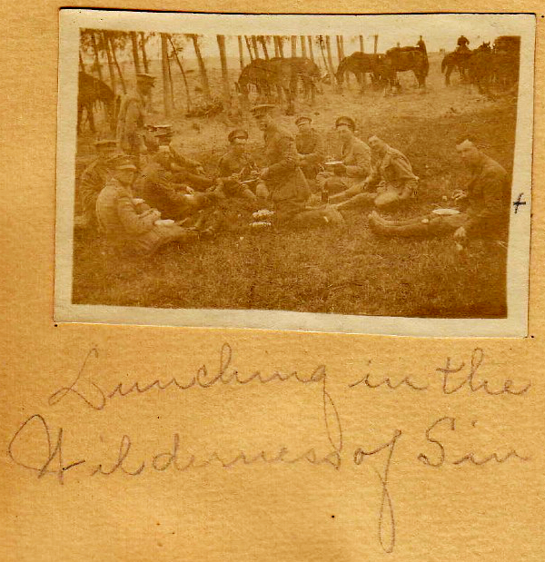 6th Bat. Company lunching in the Wilderness of Sin, Sinai Peninsular, Egypt