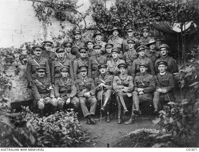 Officers 60th Battalion H G Lovett Cameron, from row, third from right