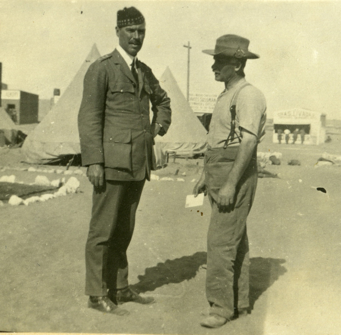 Captain Sydney Clement [left] at the 5th Batt. camp in Egypt early 1915