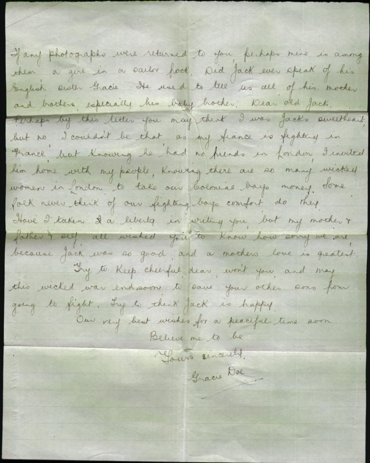 Page 2 Letter from Gracie Doe to Mrs. Bella Egan