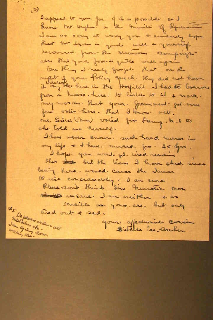 Extract from letter from Estelle Lee-Archer to Prime Minister Lyons, 9.11.1937