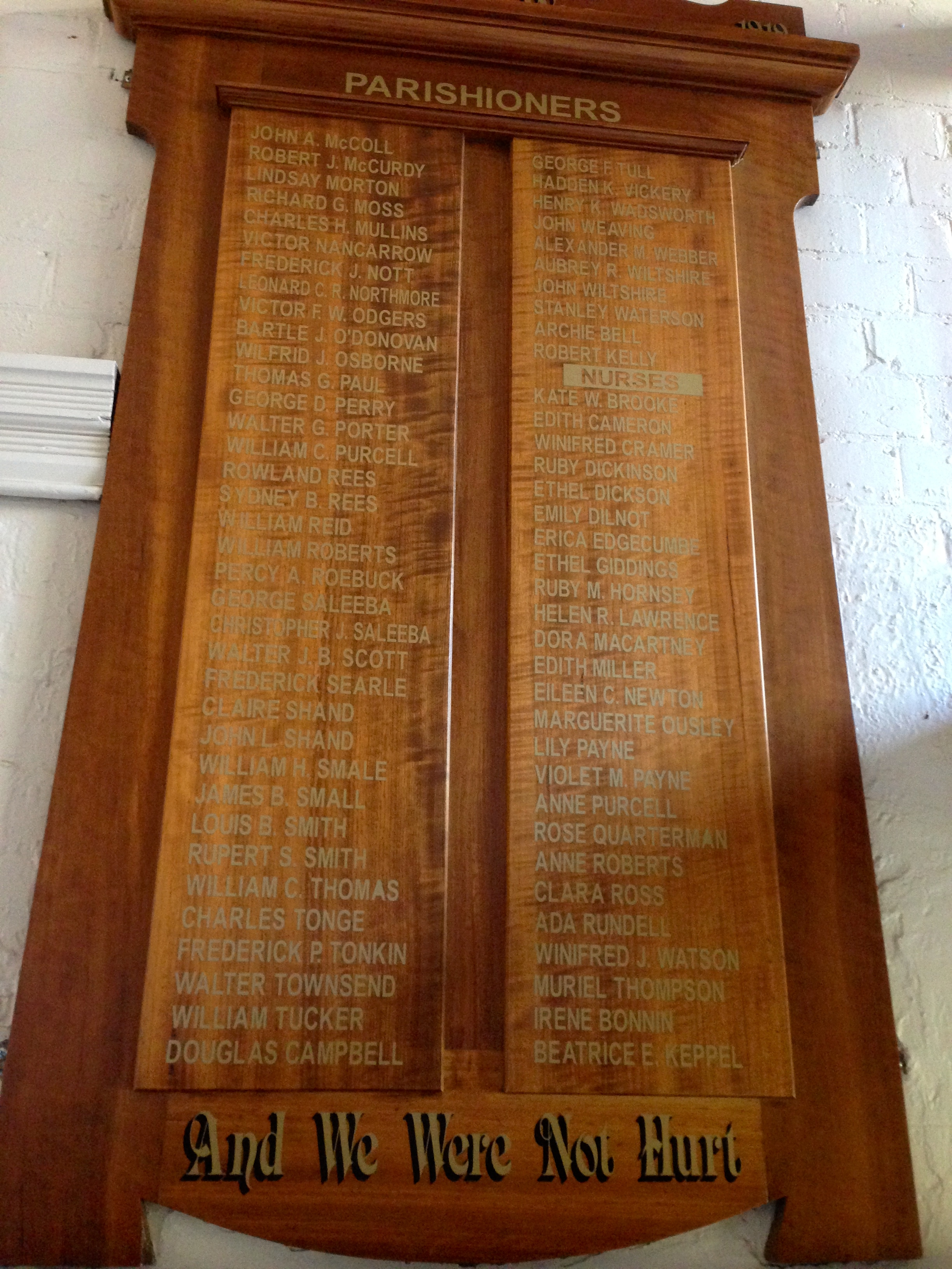 Honour Board St Peter's Eastern Hill East Melbourne