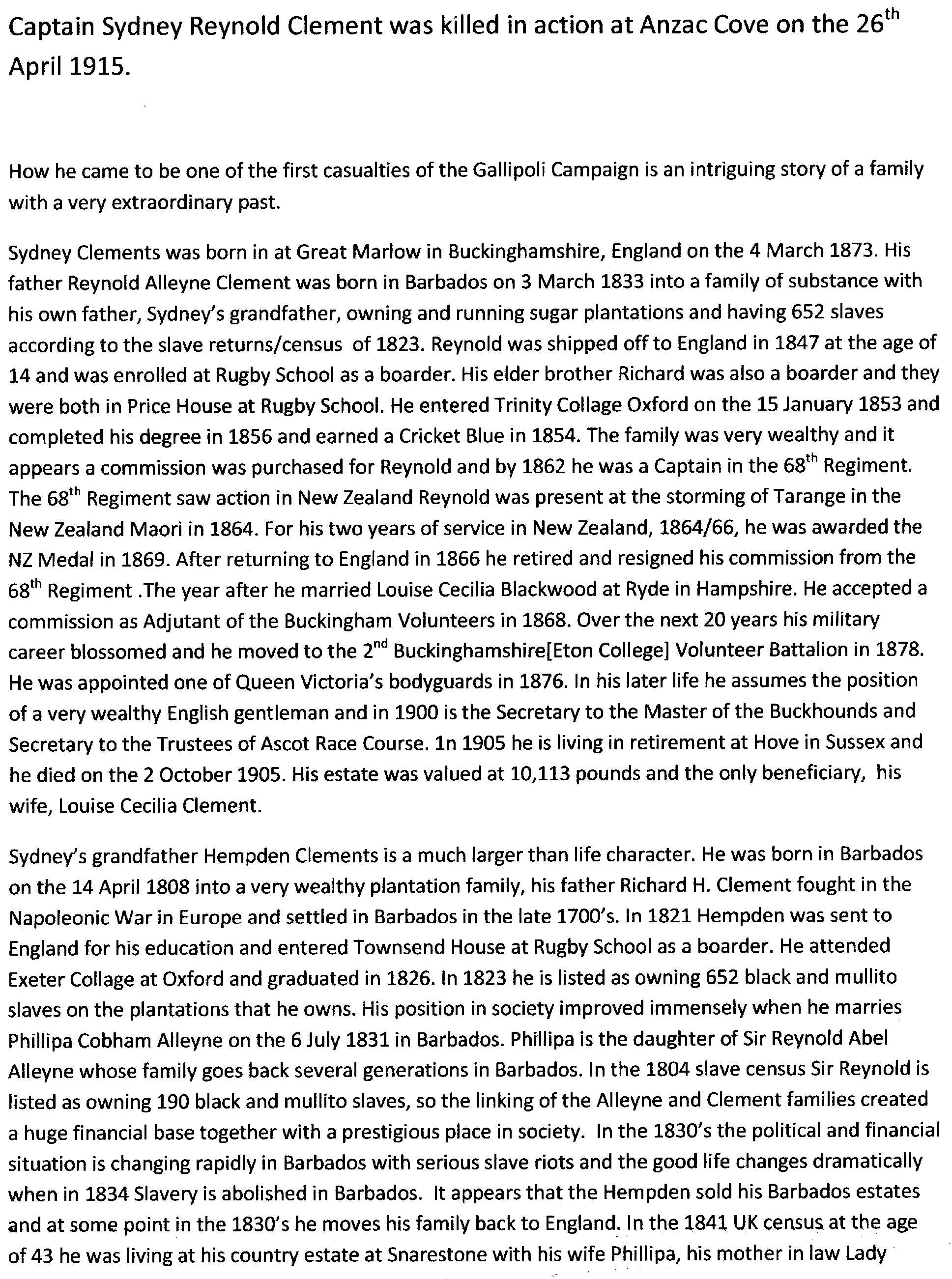 Brief history of Clement family 1780 to 1905  Part 1