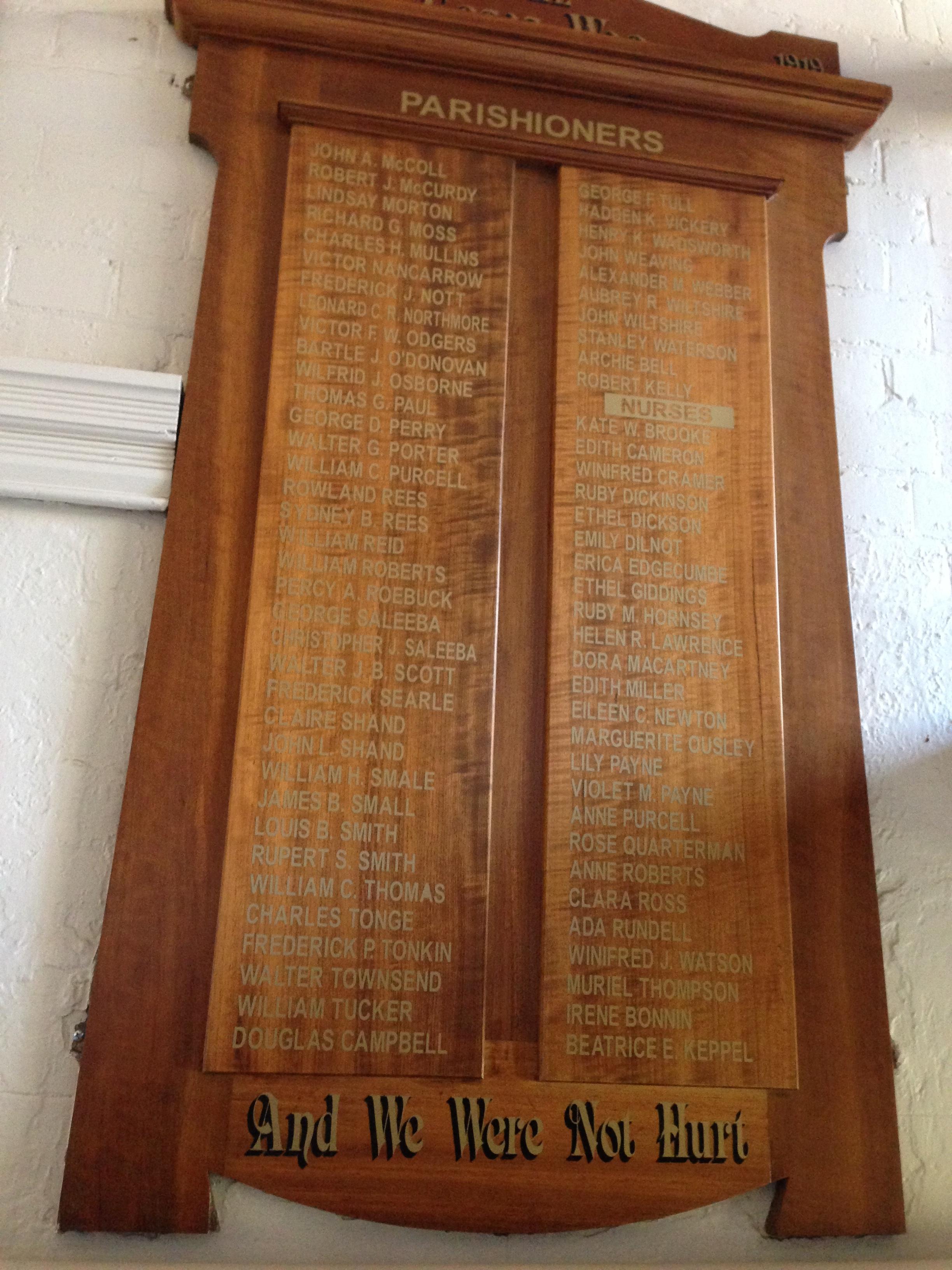 War Memorial Board showing nurses, St Peter's Eastern Hill, East Melbourne