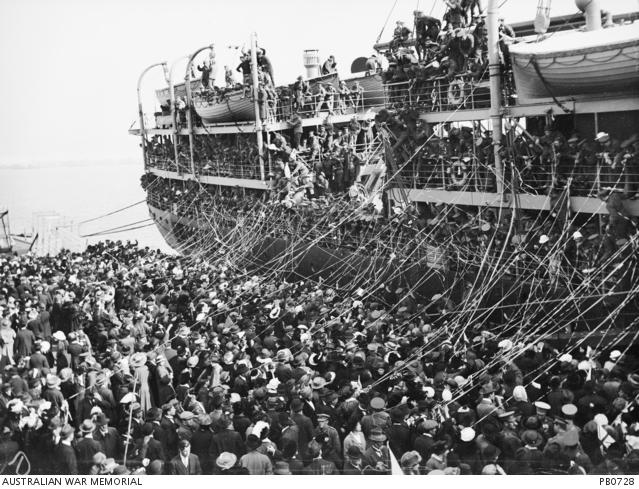 McKinnon leaves Melbourne on Orsova July 1915 AWM PB0728