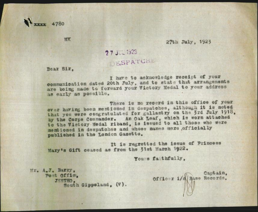 Letter advising Archibald was not mentioned in despatches