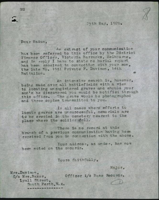 Army letter to Frank's mother re his grave site.