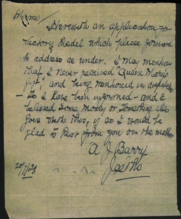 Letter from Archibald asking for recognition of his gallantly in France
