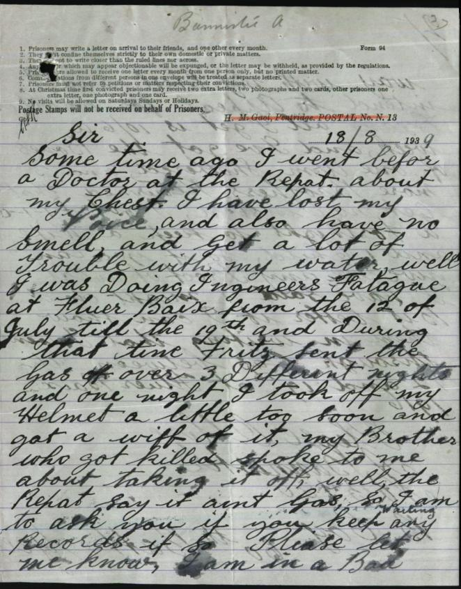 A letter written by Alfred Bannister asking for his medical records