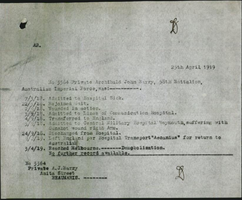 Archibald official service record from Army records.