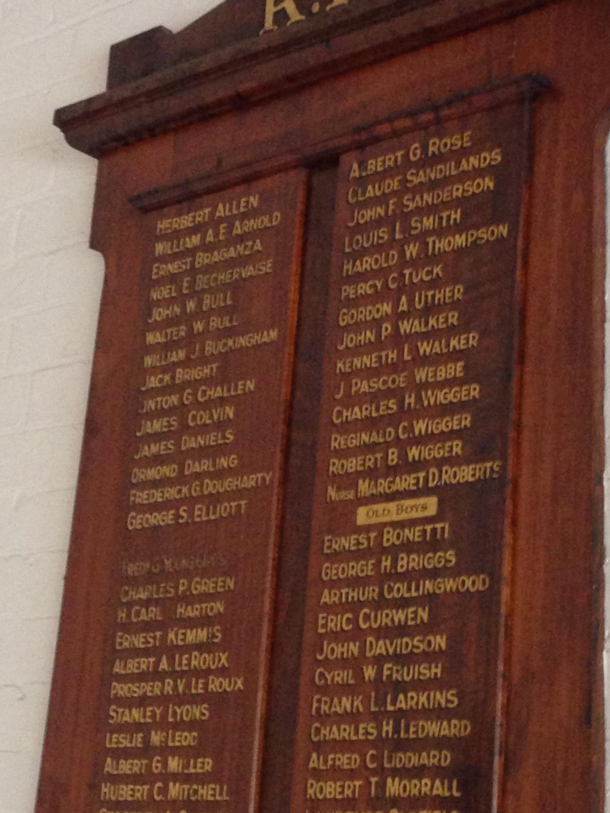 Margaret Roberts, St Peter's Eastern Hill Honour Board, Melbourne (detail)