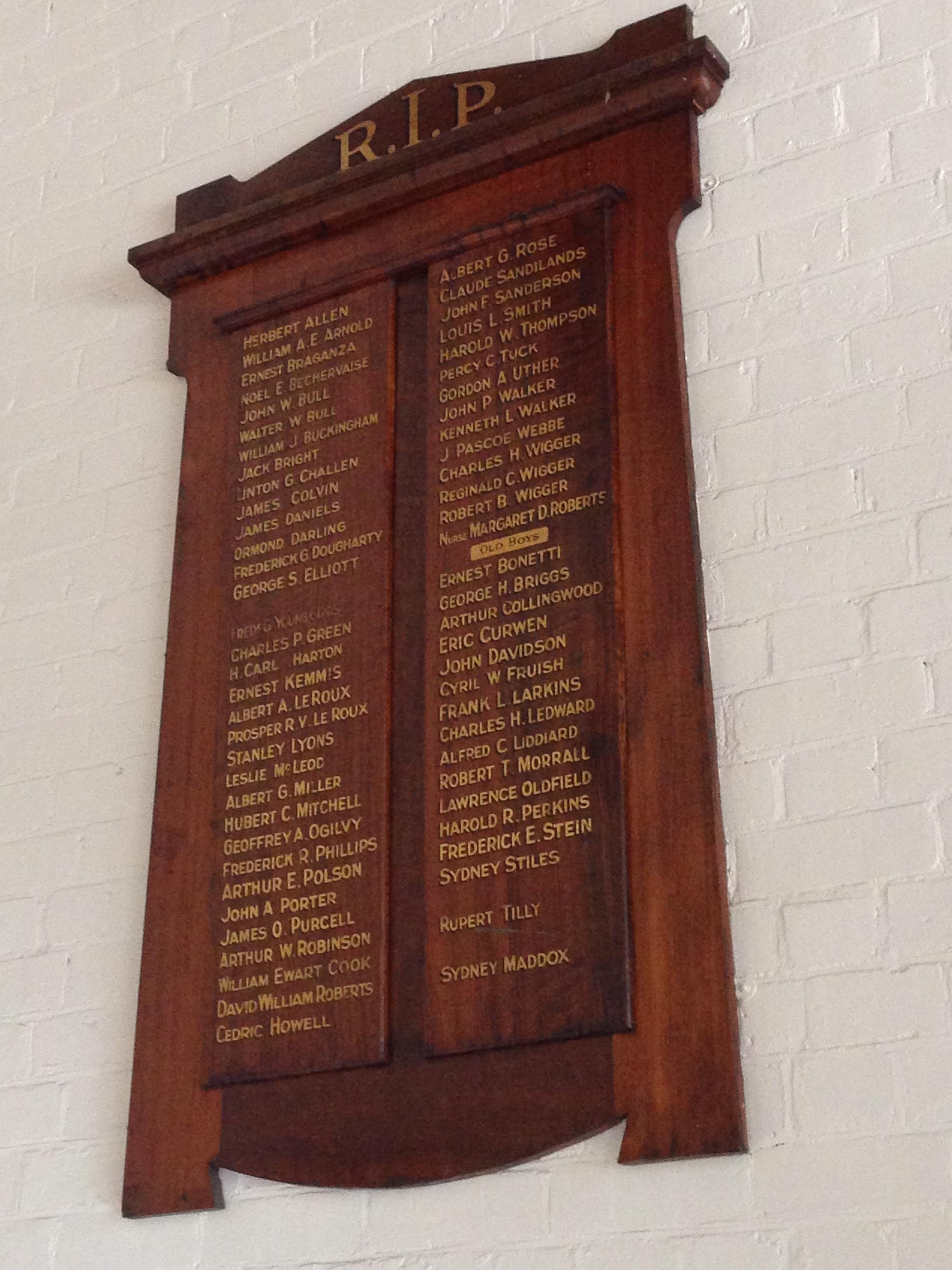 Margaret Dorothy Roberts, St Peter's Eastern Hill Honour Board, Melbourne