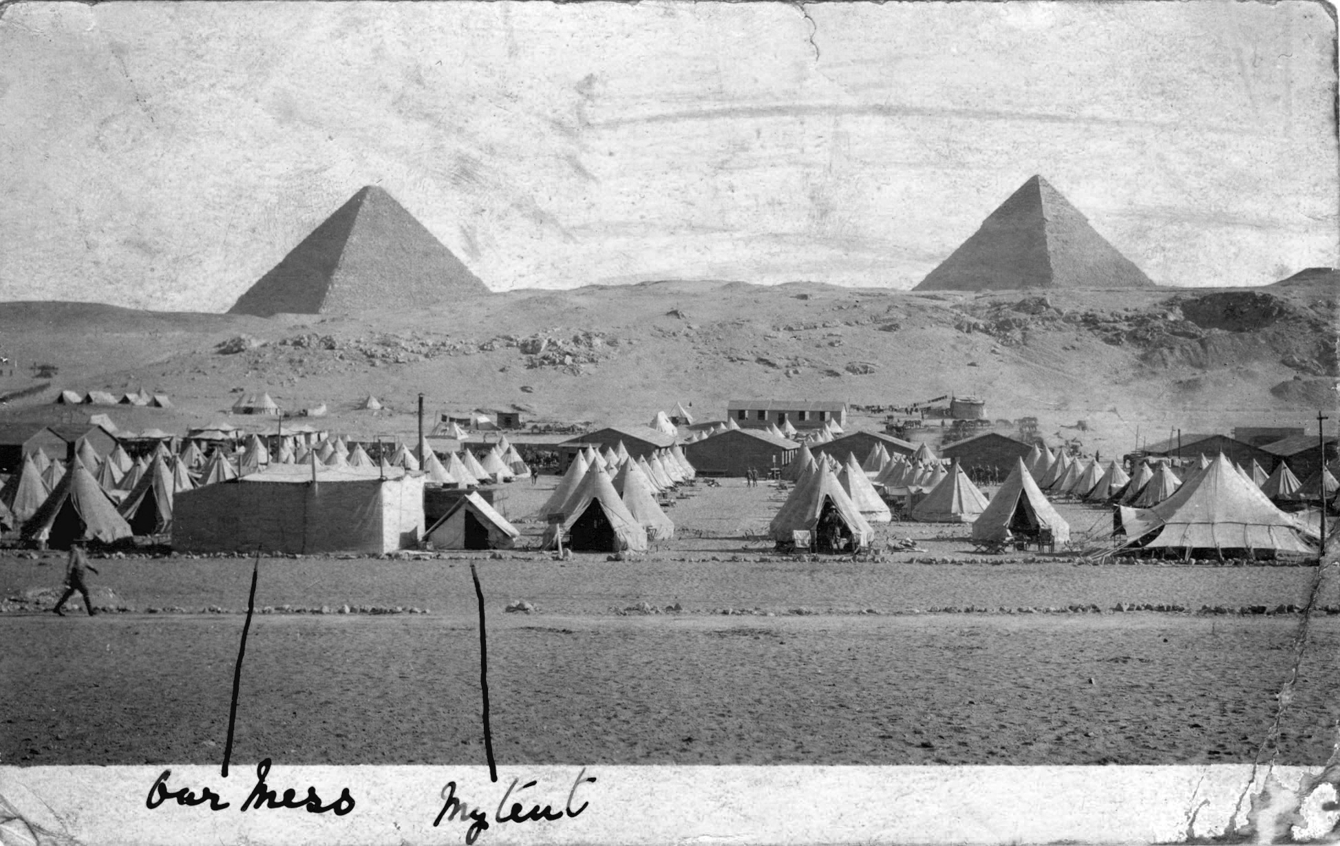 Captain Sydney Clement tent along side the 5th Batt Mess tent, Egypt early 1915