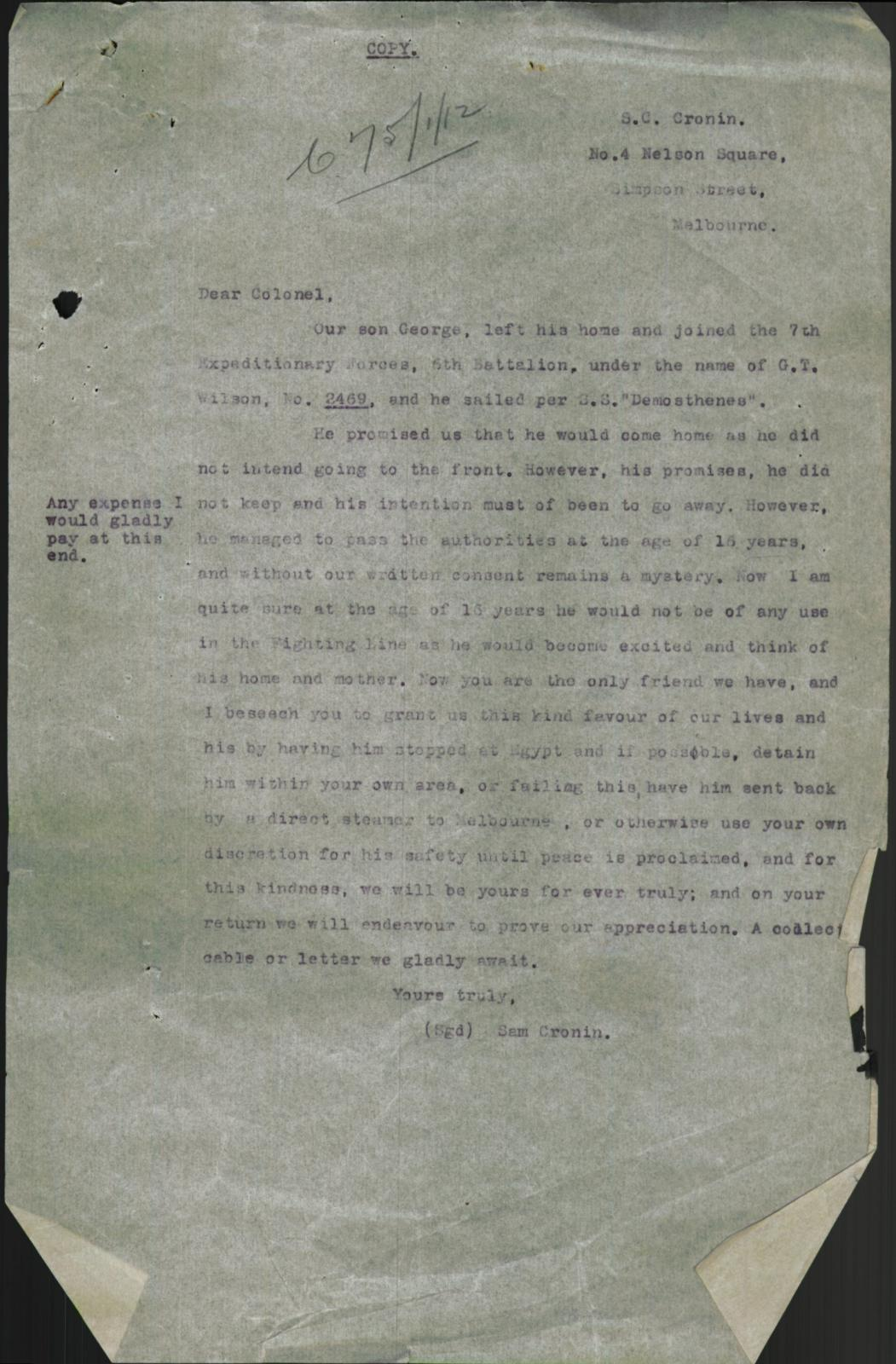 Letter from Sam Cronin advising that his son is underage